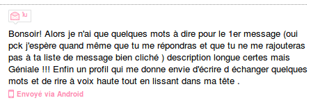 exemple premier message de la part d'une fille