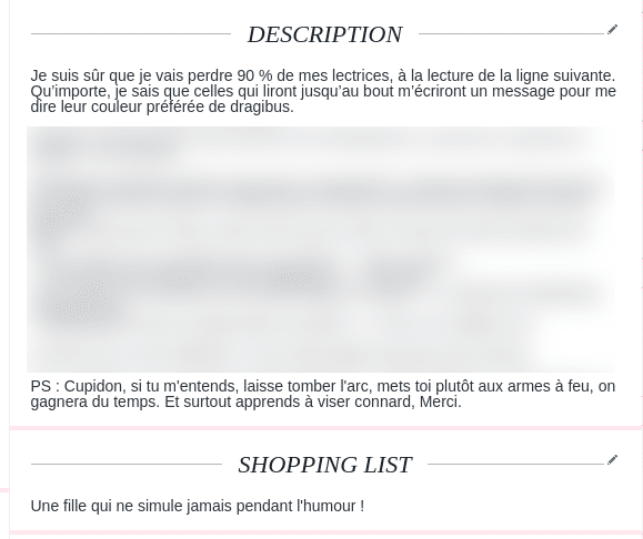 description et shopping list adopteunmec
