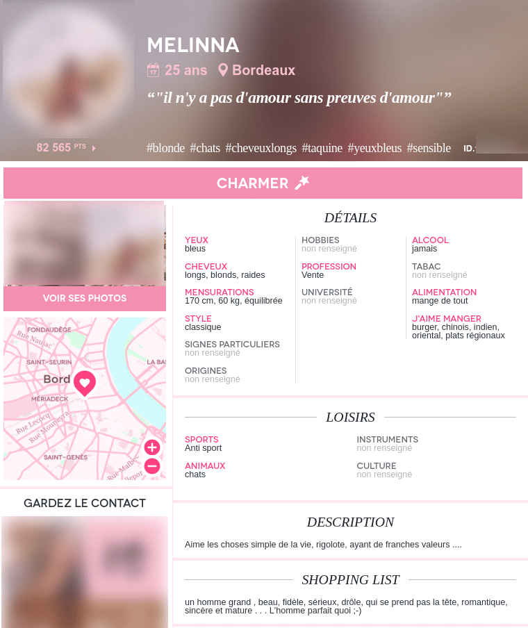 le détails à regarder sur les profils des filles sur adopteunmec