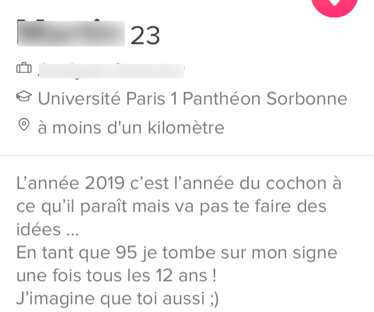 exemple mauvaise description Tinder