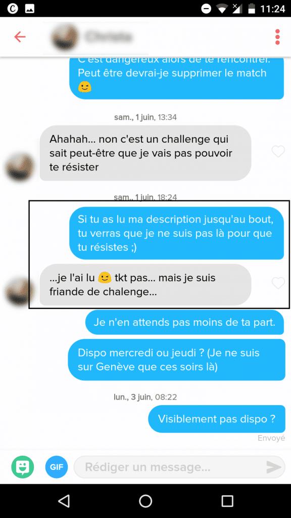 exemple conversation pour un plan cul sur Tinder