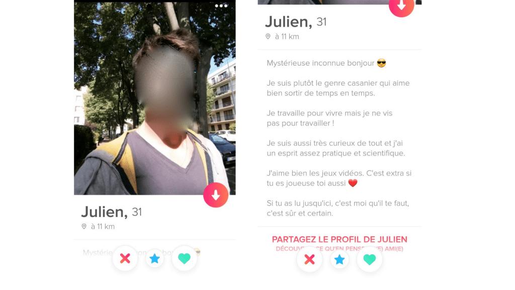 Matchs Tinder - Exemple mauvais profil